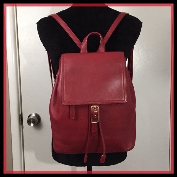 Coach Handbags - COACH VTG RED LEGACY LEATHER BACKPACK